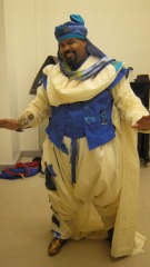 James Monroe Inglehart as the Genie in his mock up fitting. Fabric swatches are pinned in the regions where they are to be used.