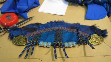 Epaulettes with fur and findings that lace onto doublet