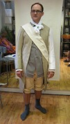 Michael Dean Morgan as a Townsperson in his mock up fitting. The mock up coat, waistcoat and breeches served as the template for four different costumes.