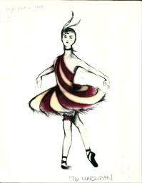 Fabio Toblini's rendering for the Marzipan Dancers in Arizona Ballet's Nutcracker