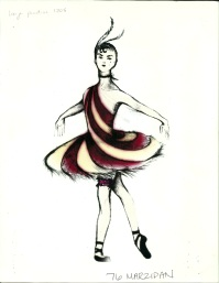 Fabio Toblini's rendering for the Marzipan Dancers in Arizona Ballet's Nutcracker