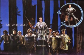 In Broadway's Cinderella, Santino Fontana as the Prince rides in on a horse wearing a full suit of armor and surrounded by armored soldiers.