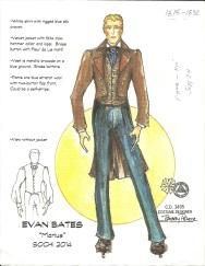Bobby Pearce's costume rendering for skater Evan Bates in a program to music from Les Miserables.