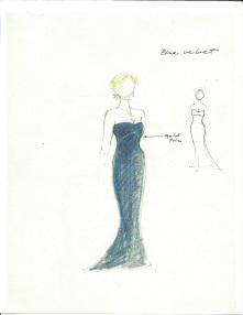 Jess Goldstein's sketch for Kristin Chenoweth's Met Opera concert debut.