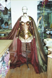 Caped armor built as a boned bodice