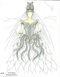 Eiko Ishioka's costume rendering for Evil Queen in Mirror, Mirror