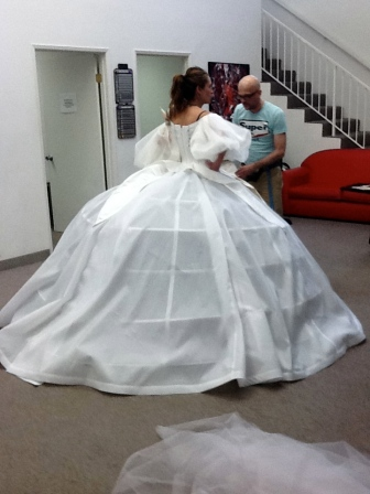 Mock up fitting at Bill Hargate Studios, Los Angeles