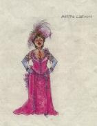 Jess Goldstein's costume rendering for Medda Larkin in Newsies.