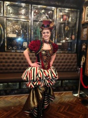 The Hostess greeting guests at Norwegian Cruise Lines' Illusionarium, a steampunk dinner theatre.