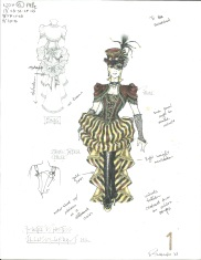 Eduardo Sicangco's costume rendering for the Hostess of Illusionarium