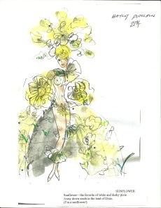 A daffodil inspired showgirl designed by William Ivey Long for the Roundabout's Pal Joey.