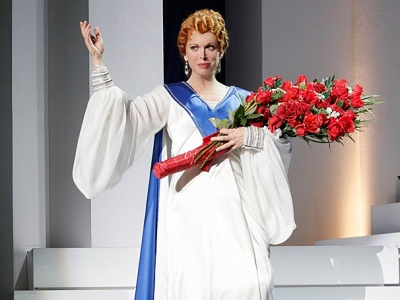 Carolee Carmello as Aimee Semple McPherson in Broadway's Scandalous.