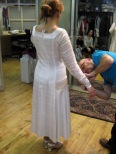 Fitting Ms. Carmello in the 20's dress