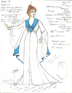 For the character Aimee Semple McPherson, Greg Poplyk designed a white and blue preaching robe that could break away to reveal other costumes.