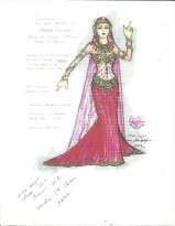 A classic Delilah costume, designed by Mr. Poplyk, is worn under the white preaching robe with the dress train looped over a bar hidden in the robe back.