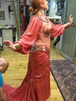 Fitting Ms. Carmello in the Delilah costume