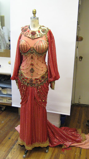 The completed Delilah costume with metallic velvet striped chiffon skirt and sleeves