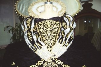 Bodice and sleeve ornamentation were created using fusible embroidered appliqués, cut and finessed into shape.