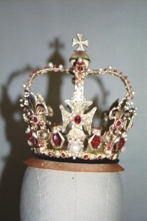 Brass crown with gems soldered into settings