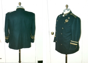 Kemp's double-breasted uniform jacket with buttons removed at belt level
