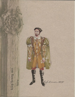 Henry's gold look is comprised of requisite doublet, jerkin and surcoat with set gems and fur.