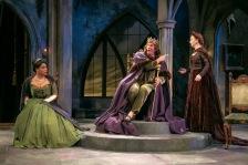 Queen Marie (Jesmille Darbouze), King Berenger (Brent Harris) and Queen Marguerite (Marion Adler), left to right