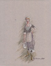 Costume rendering for Juliette, domestic help and registered nurse