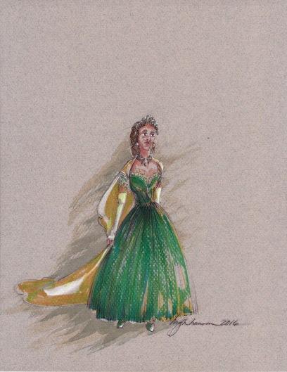 Costume rendering for Queen Marie